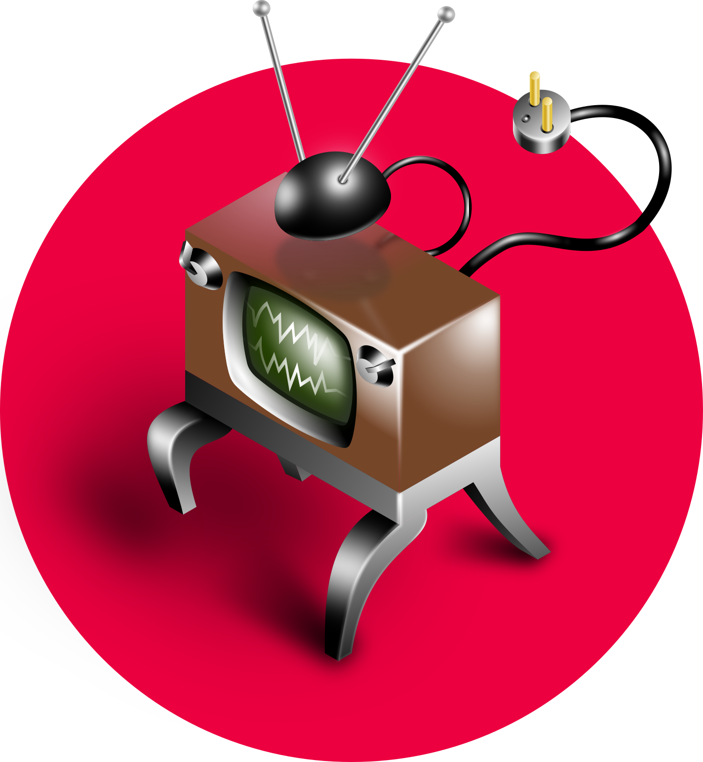 Comic angry TV receiver vector illustration