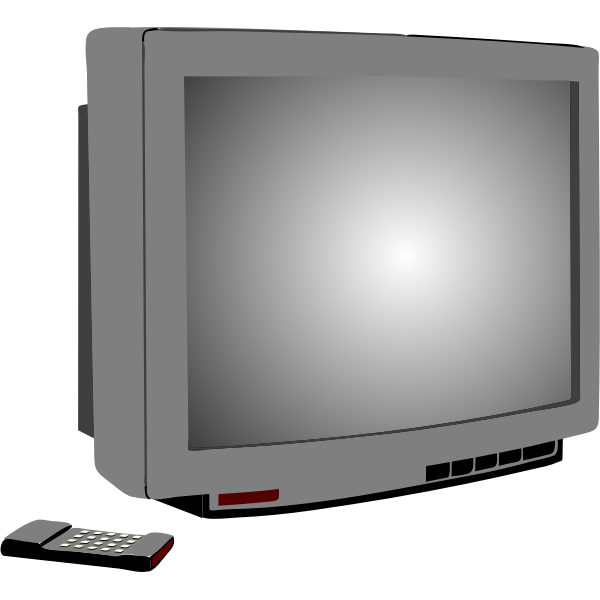 Vector illustration of silver TV set