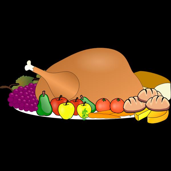 Thanksgiving day turkey serving icon vector clip art
