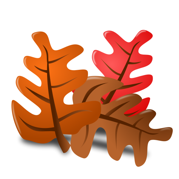 Vector image of autumn leaves with shadow