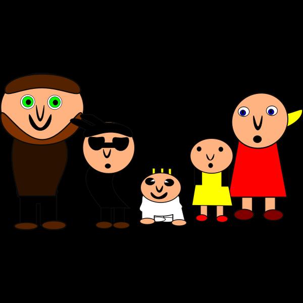 Vector clip art of weird cartoon family