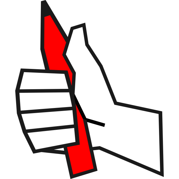 Vector clip art of thumbs up with a pencil