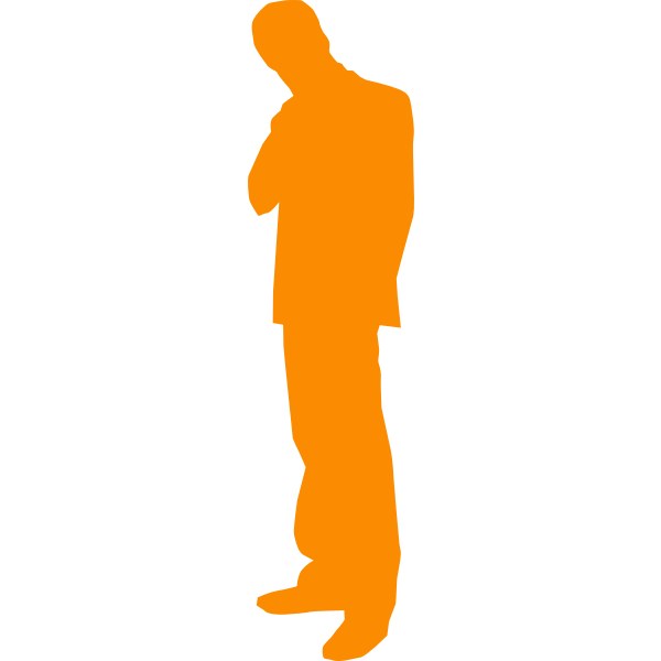 Vector silhouette clip art of thinking man