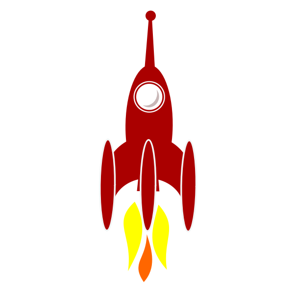 Vector graphics of comic rocket at launch,