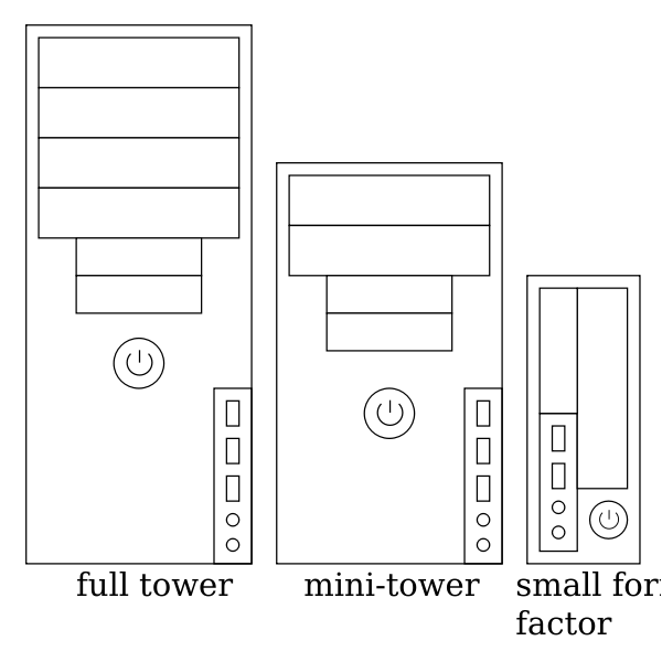 Three types of computer cases vector drawing