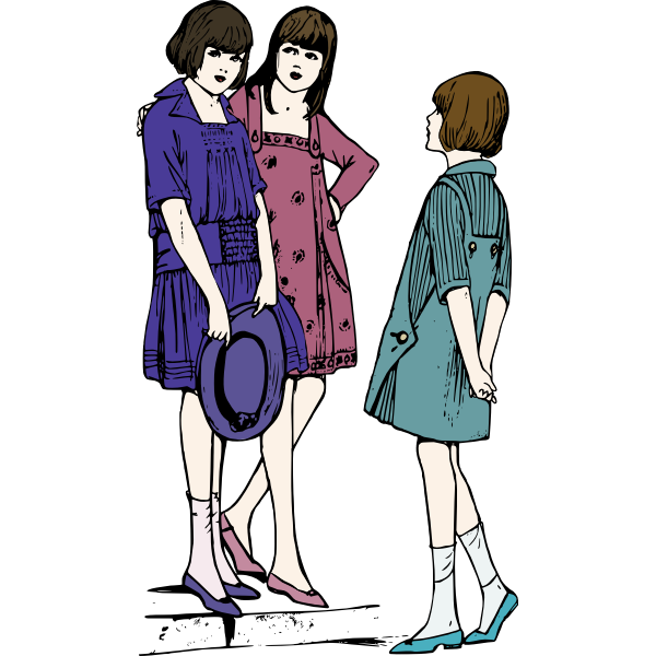 Vector image of three young ladies chatting on pavement