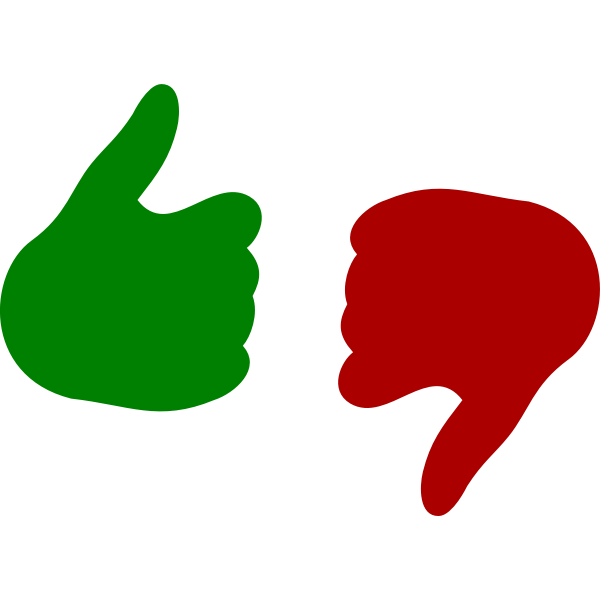 Vector drawing of thumb up and down