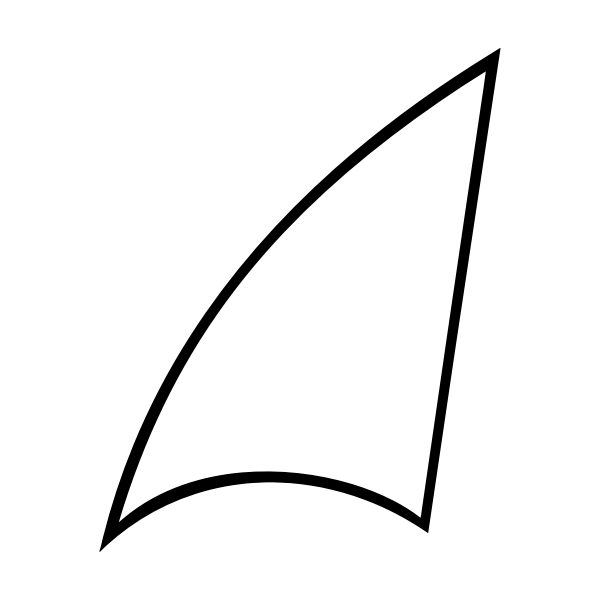 Vector image of lineart shark fin