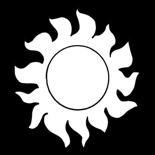 Vector graphics of fiery sun line art