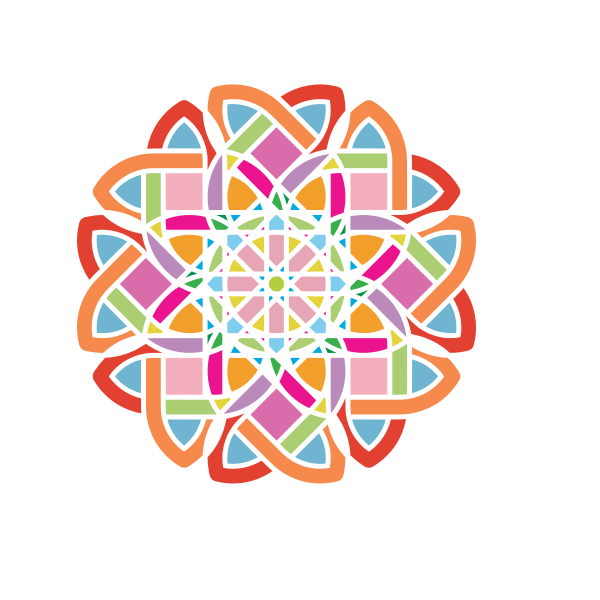 Vector drawing of colorful maze flower