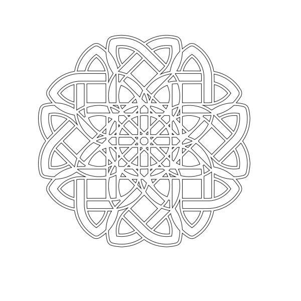 Vector graphics of black and white maze flower