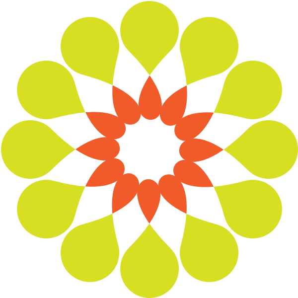 Vector image of green and orange abstract flower
