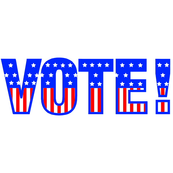 Vector image of word VOTE in USA flag pattern
