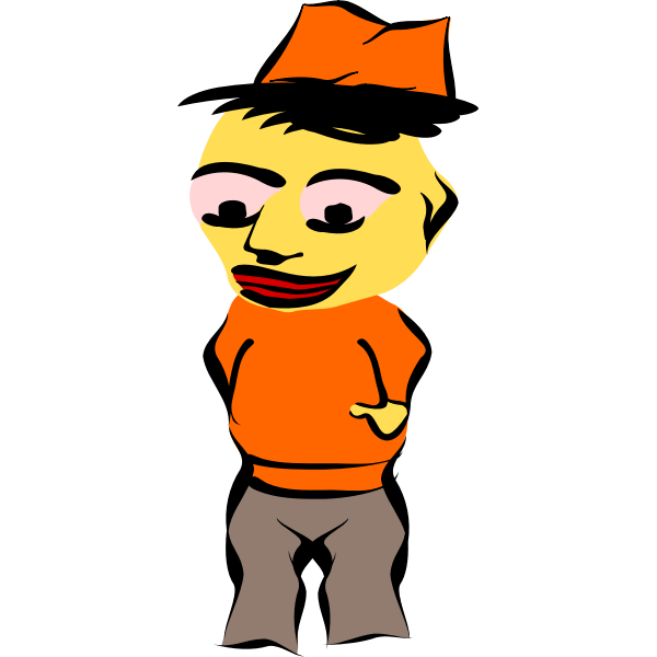 Vector graphics of yellow faced male doll