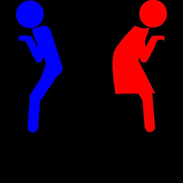 Vector graphics of comic restroom door symbol