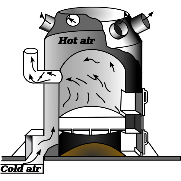 Vector illustration of furnace heater diagram