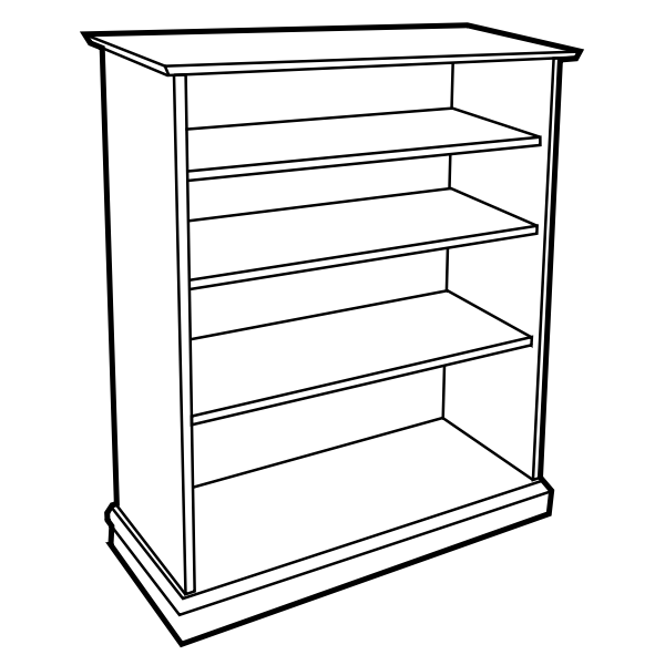 Vector illustration of bookshelf without books