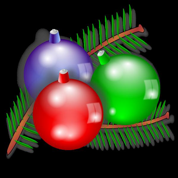 Three Christmas ornaments vector image
