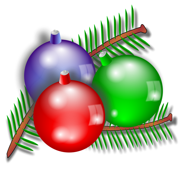 Three Christmas ornaments vector image