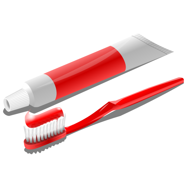 Toothbrush with toothpaste tube vector clip art