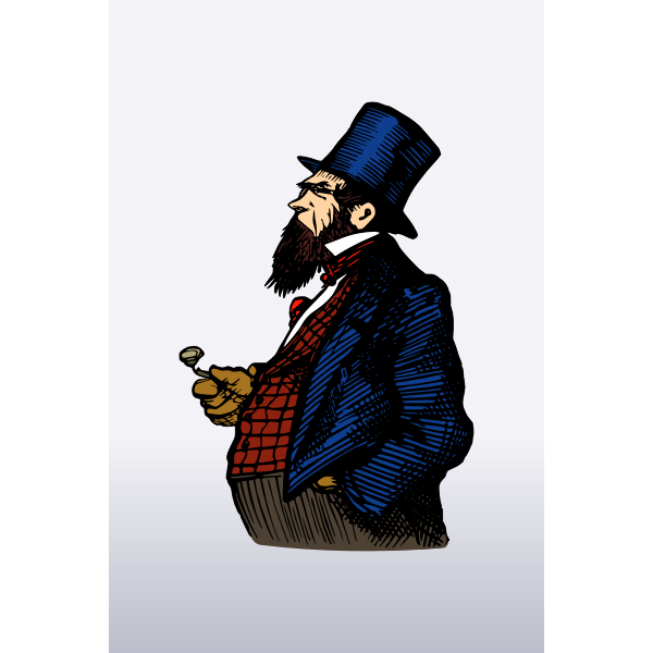 Vector image of big belly man with beard
