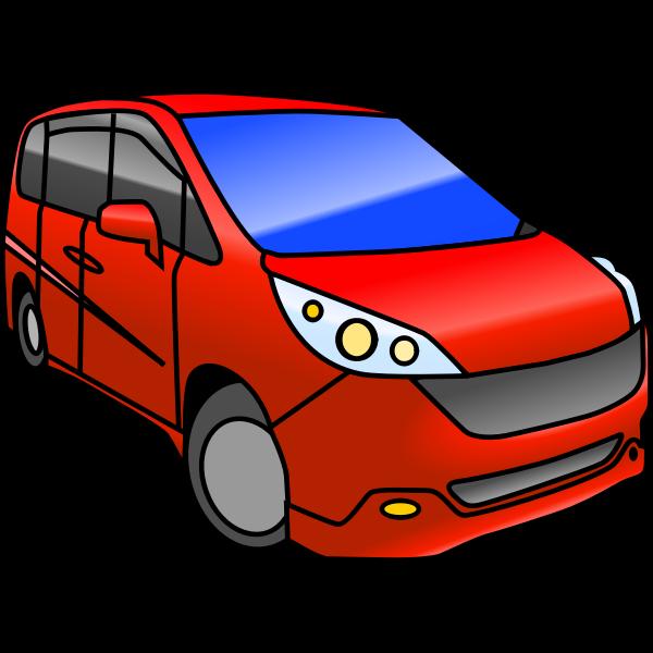 Red minivan vector illustration