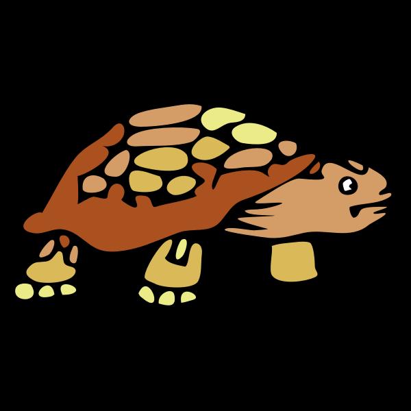 Vector clip art of old brown tortoise