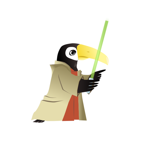 Vector drawing of penguin with lightsaber