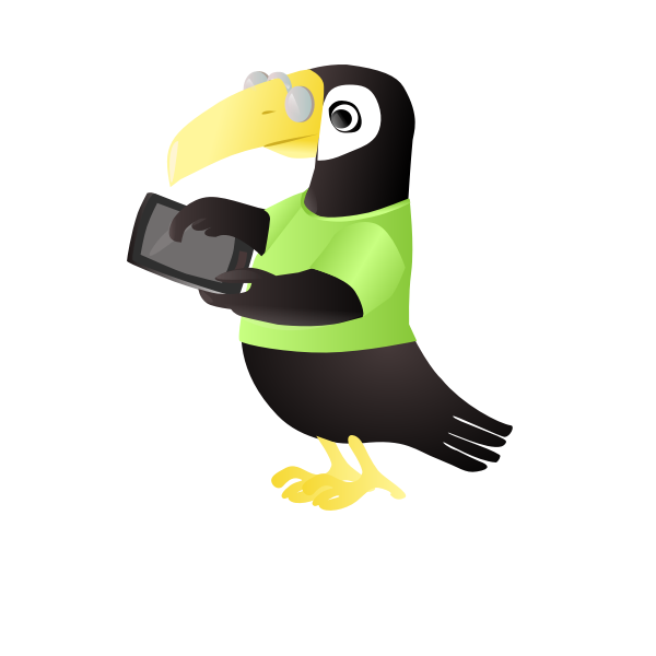 Toucan with tablet vector clip art