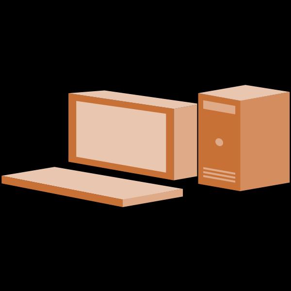 Brown line art desktop computer vector clip art