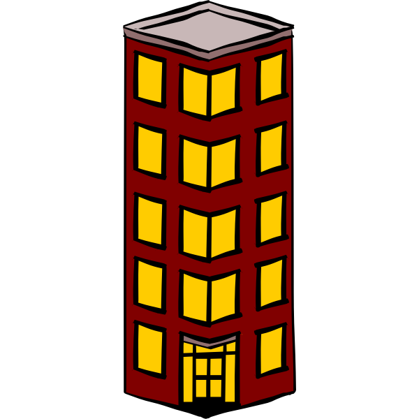 Vector clip art of slim detached tower block