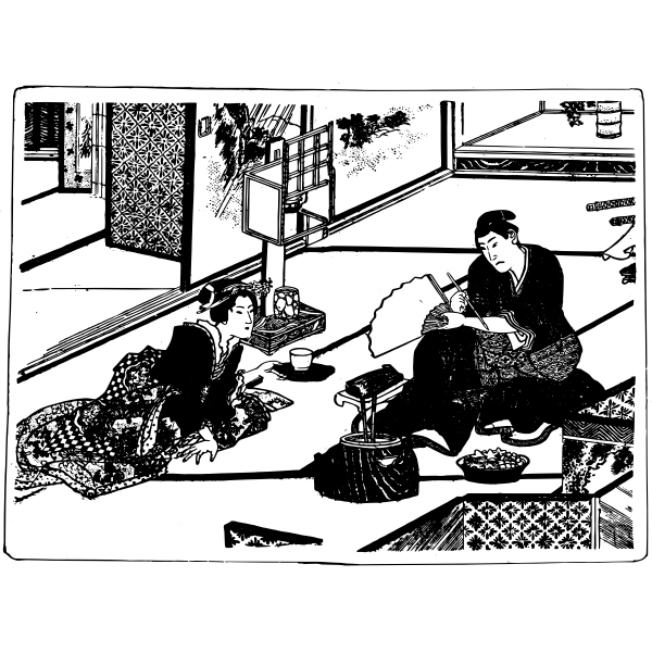 Vector illustration of traditional Japanese tea scene
