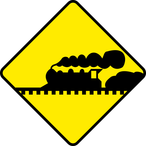 Train road sign