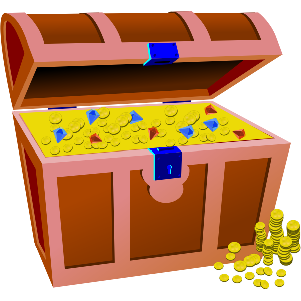 Vector illustration of treasure chest full of coins