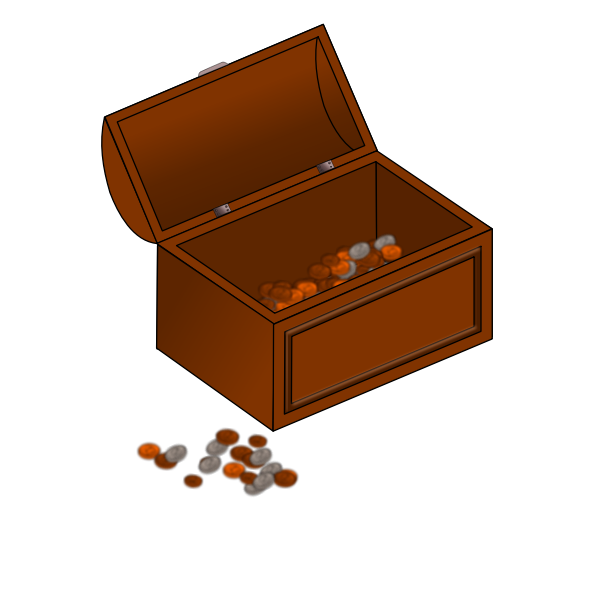 Vector clip art of half empty treasure chest with coins outside