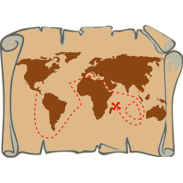 Old pirate route map