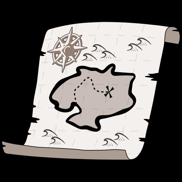 Old treasure paper map