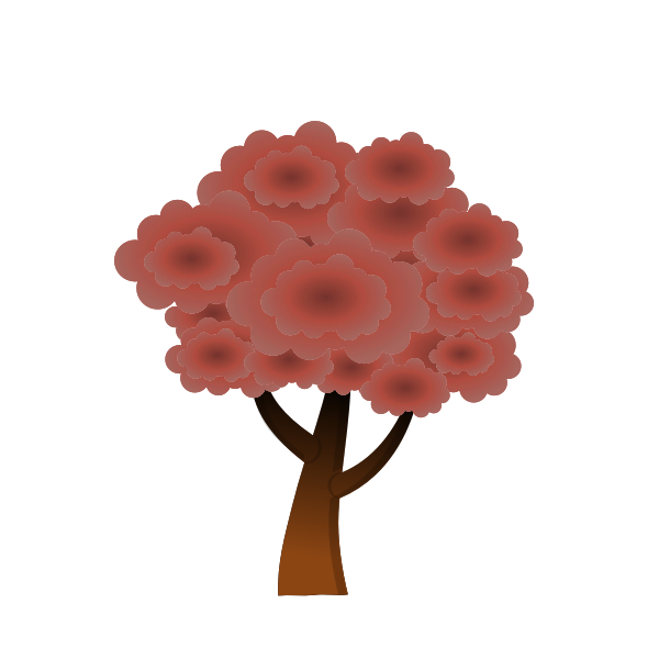 Red silhouette vector graphics of a wood tree