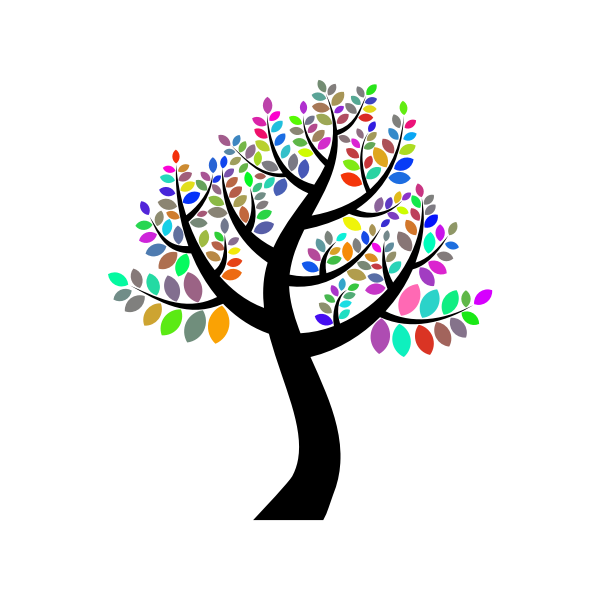 Vector clip art of colored tree