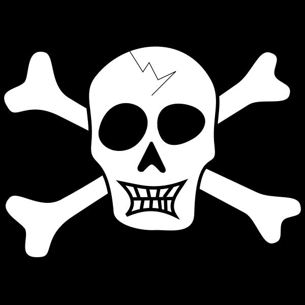 Vector drawing of broken skull pirate sign