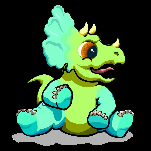 Green baby dino vector image