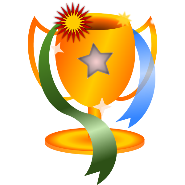 Trophy with ribbons vector image