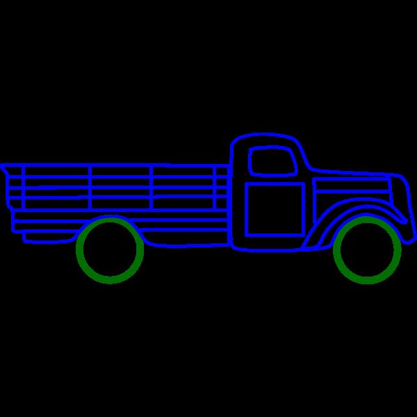 Line art vector clip art of old truck ZIS 15