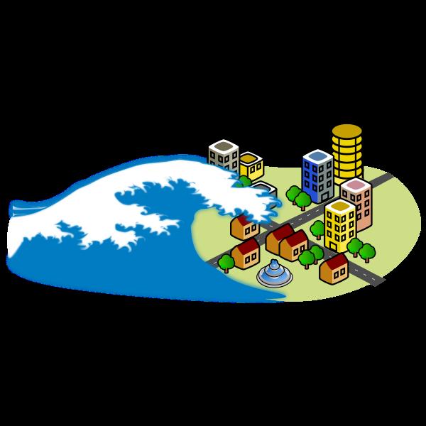 Tsunami wave hitting city