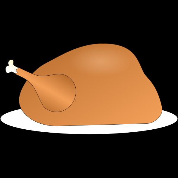 Vector image of turkey on platter