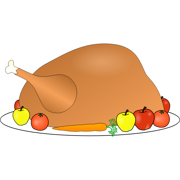Turkey platter with fruit and vegetables vector clip art