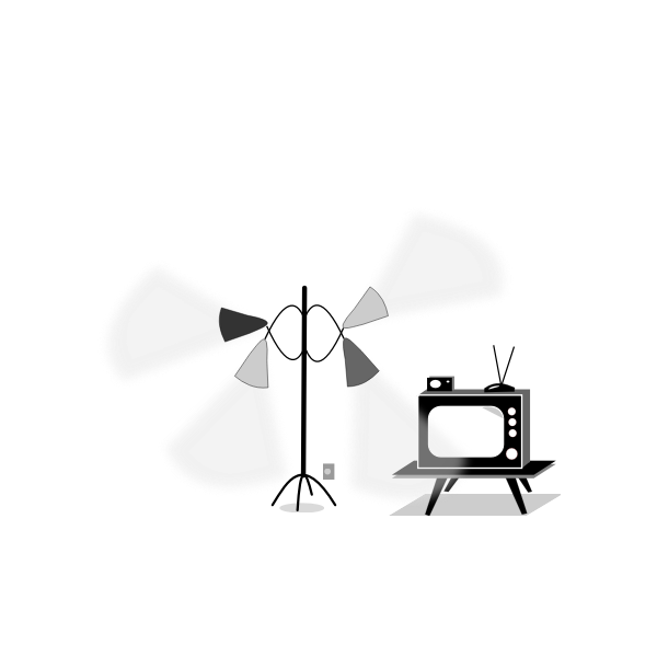 Vector image of vintage TV and a lamp