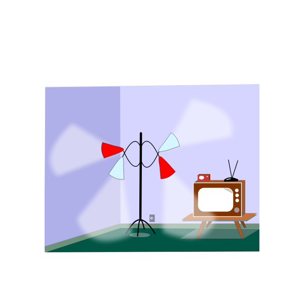 Vector drawing of room with lamps