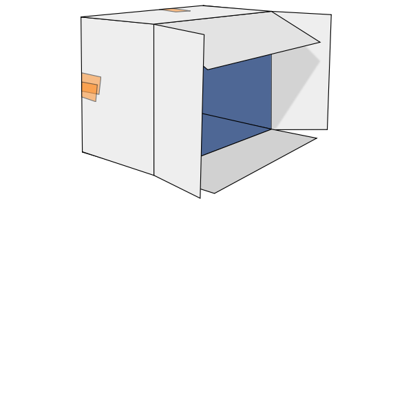 Cardboard box tipped over vector clip art