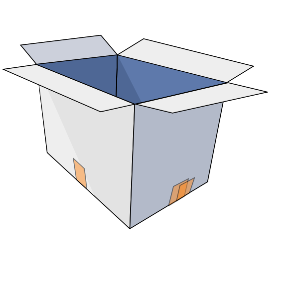 Vector image of cardboard box open upright